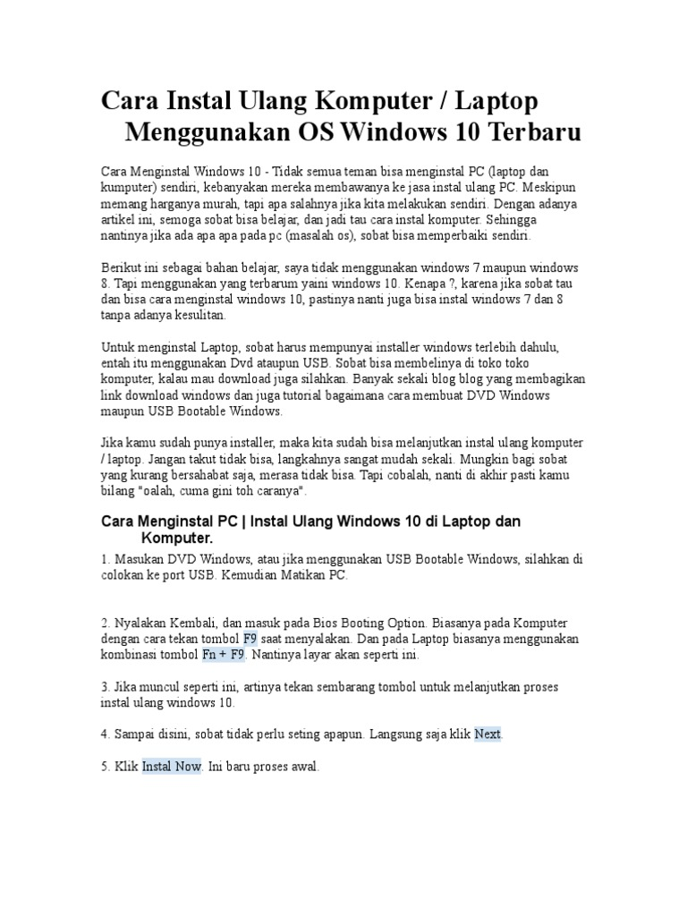 cara install ulang windows 7 lewat usb