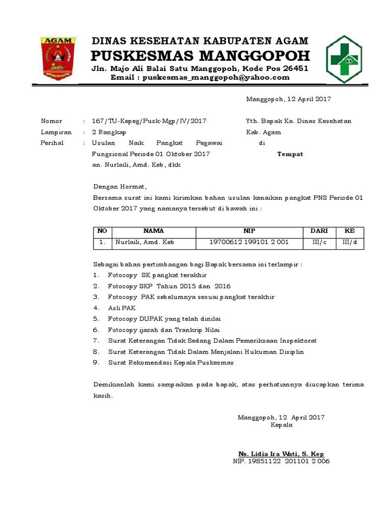 Surat Pengantar Naik Pangkat Docx