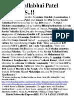 Sardar Vallabhai Patel Hated RSS