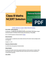 NCERT Solution for Class 8 Maths-Rational Numbers