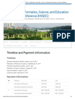 Timeline and Payment Information – Mathematics, Informatics, Science, And Education International Conference (MISEIC)