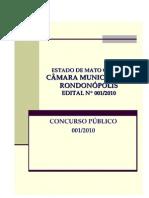 Edital Completo Câmara Municipal de Rondonópolis