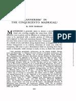 Mannerism in Cinquecento Madrigal-libre