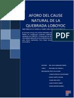 Aforo Del Cause Natural de La Quebrada Lovoyoc