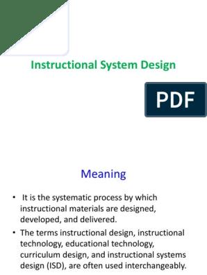 Instructional System Design Instructional Design Evaluation
