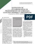 Restitución de montos embargados en procedimiento de cobranza coactiva indebido y prescripción