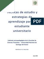 Tecnicas de Estudio y Estrategias de Aprendizaje Para El Estudiante Universitario