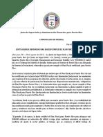 Comunicado Público Sobre La Radicación de Recurso Para El Cumplimiento Del Plan Fiscal Certificado