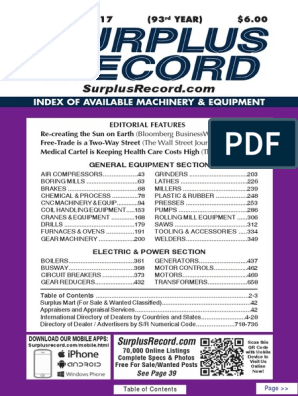 September 2017 Surplus Record Machinery & Equipment Directory on