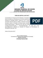 Edital Mestrado Sociologia UFG