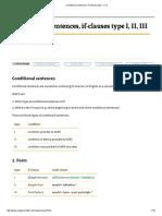 Conditional Sentences, If-clauses Type I, II, III