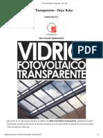 Vidrio Fotovoltaico Arquitectónico Transparente - Onyx Solar
