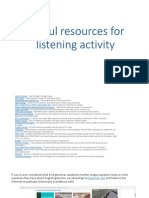 Useful Resources for Listening Activity
