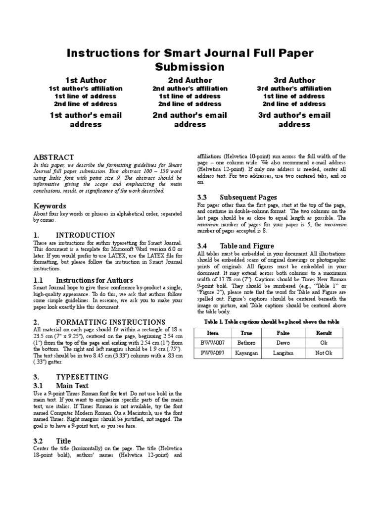 Smart Journal Template   Times New Roman   Latin Alphabet