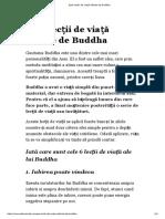 Șase Lecții de Viață Oferite de Buddha