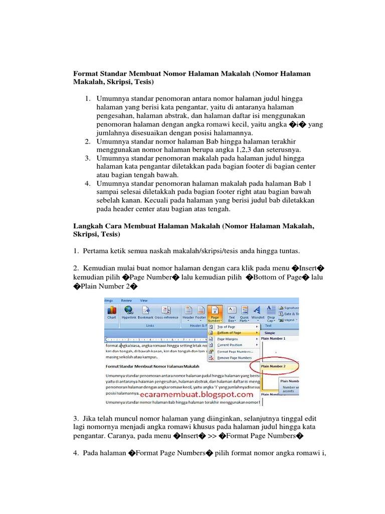Format Standar Membuat Nomor Halaman Makalah