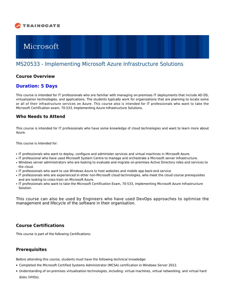 Course outline ms20533 microsoft azure cloud computing 1betcityfo Gallery