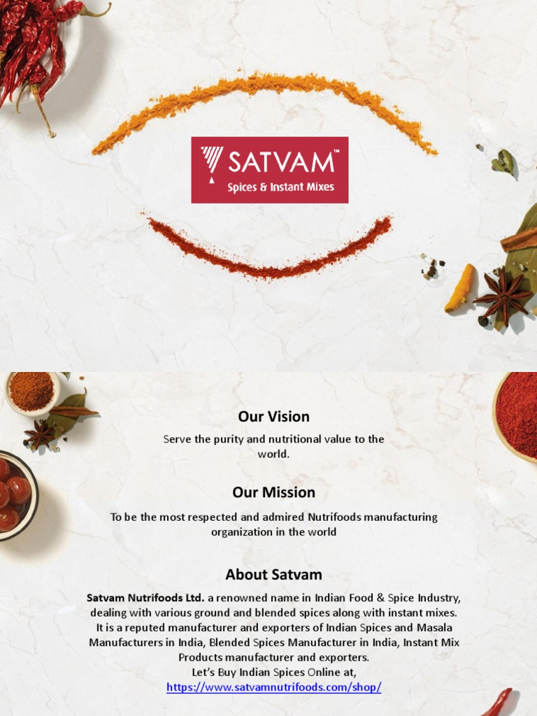 Spices Manufacturing Companies In India | Satvam Nutrifoods Ltd