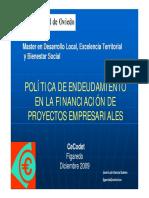 Política de Endeudamiento en La Financiación de Proyectos Empresariales.