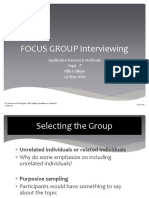 Qualitative Methods, Focus Group Interviewing, Topic 7