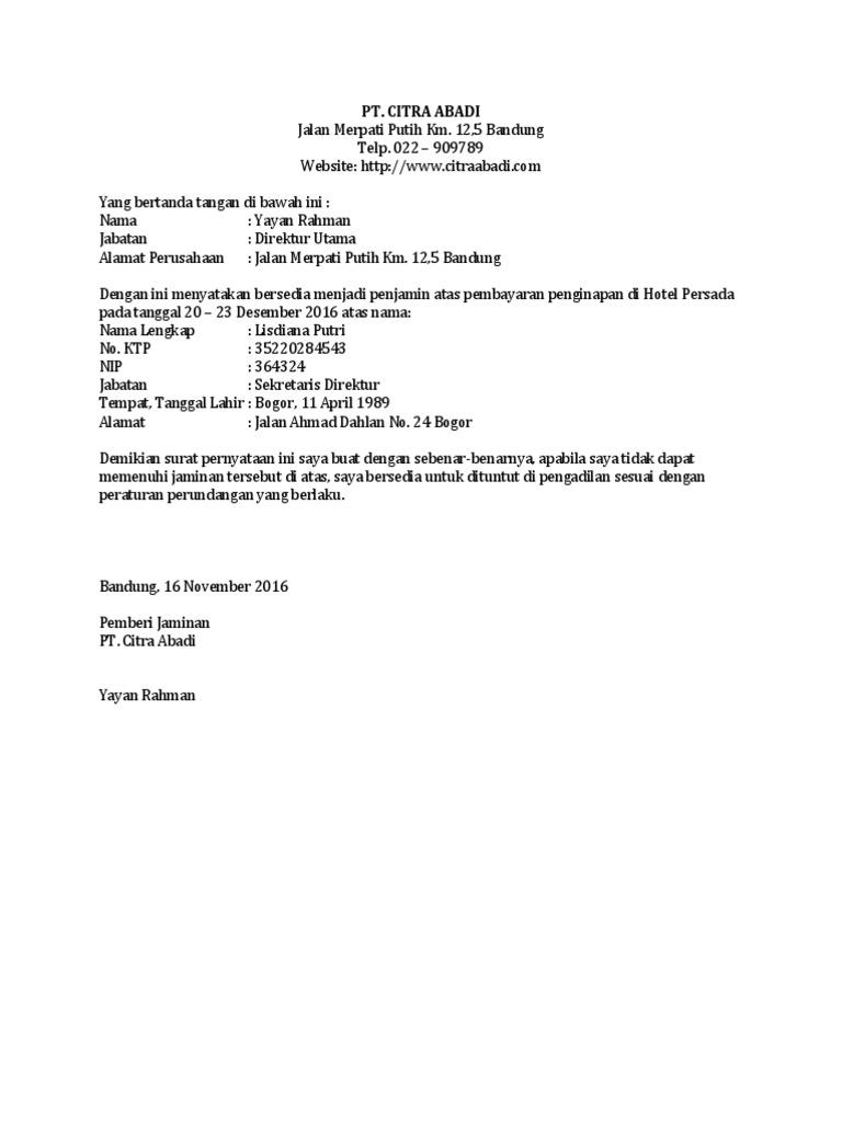 Contoh surat jaminan pembayaran hotel oleh perusahaan thecheapjerseys Image collections