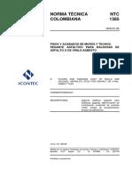 NTC 1385 Pisos y Acabados de Muros y Techos. Pegante Asfáltico Para Baldosas de Asfalto o de Vinilo-Asbesto