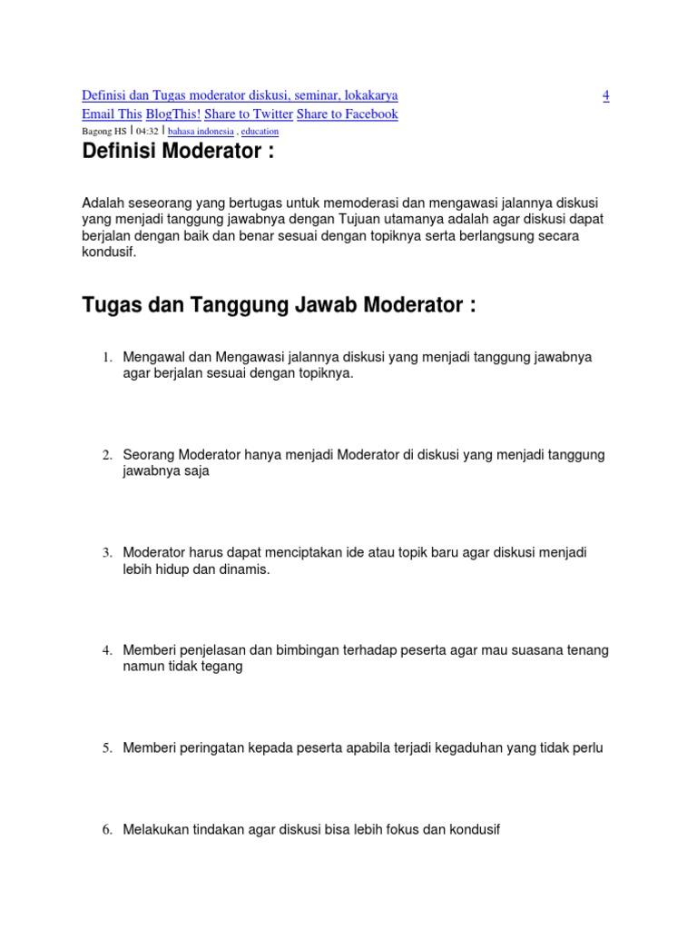 Definisi Dan Tugas Moderator Diskusi