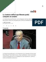 La Justicia Ratificó Que Menem Podrá Competir en Octubre - MDZ Online