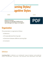 Learning Styles  & Cognitive Styles