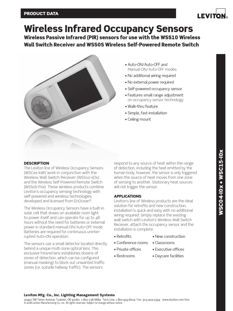 Leviton Datasheet Wireless-Occupancy-Sensors WSCxx | Electronics ...