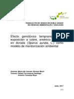 """Ga Alvarezberet Mc Efectogenotoxicotempranodelaexposicionacobreplomoarsenicoendoradacomomodelodemonitorizacionambiental .PDF"""