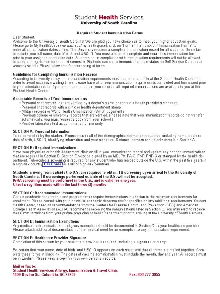 immunization records forms