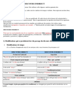 Discours Direct - Discours Indirect