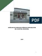 Catálogo de Servicios Médicos Especialistas Del Hospital Municipal