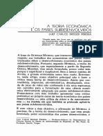 A Teoria Economica e Os Países Subdesenvolvidos