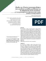 Dificultades en el factor neuropsicológico Cinestésico predicen posibles problemas en la adquisición de la escritura