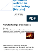 Methods, Processes & Equipment Involved in Manufacturing