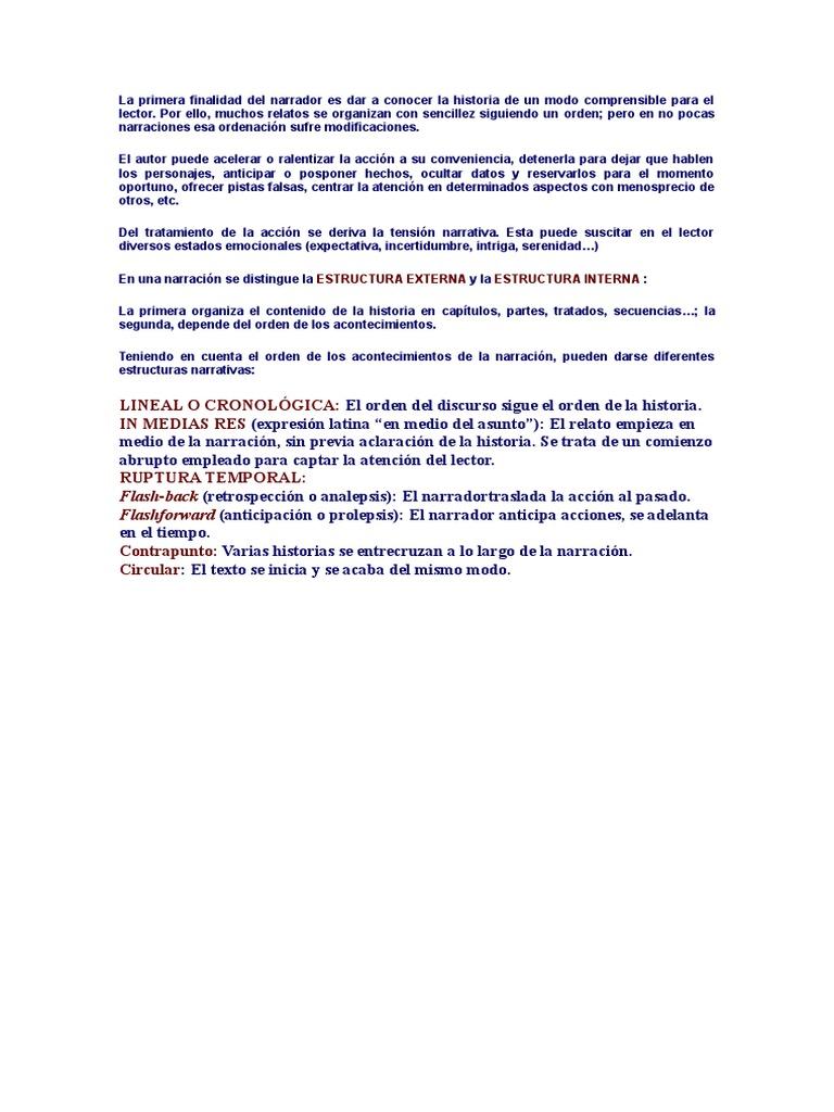 Estructura Interna Y Externa Texto Narrativo Doc