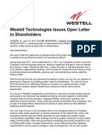 2017-06-13 Westell Technologies Issues Open Letter to 234
