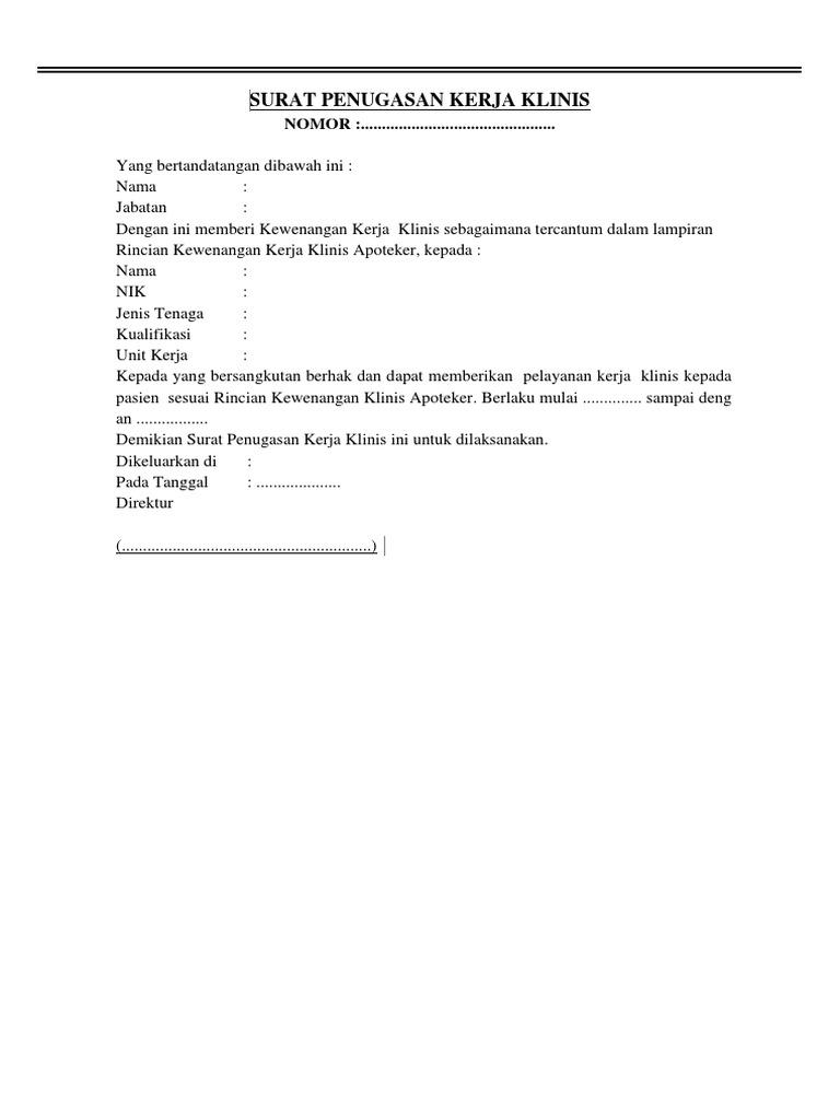 Contoh Surat Penugasan Kerja Klinik Apoteker Docx