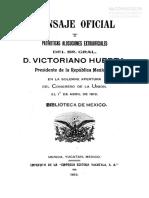 Informe de Victoriano Huerta al Congreso