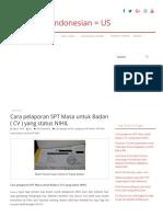 Cara pelaporan SPT Masa untuk Badan ( CV ) yang status NIHIL _ American & Indonesian = US