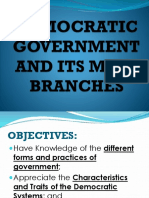 Democratic Government and Its Main Branches