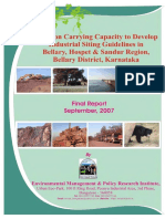 Carrying Capacity of Mines in Bellary District EMPRI 2007 09
