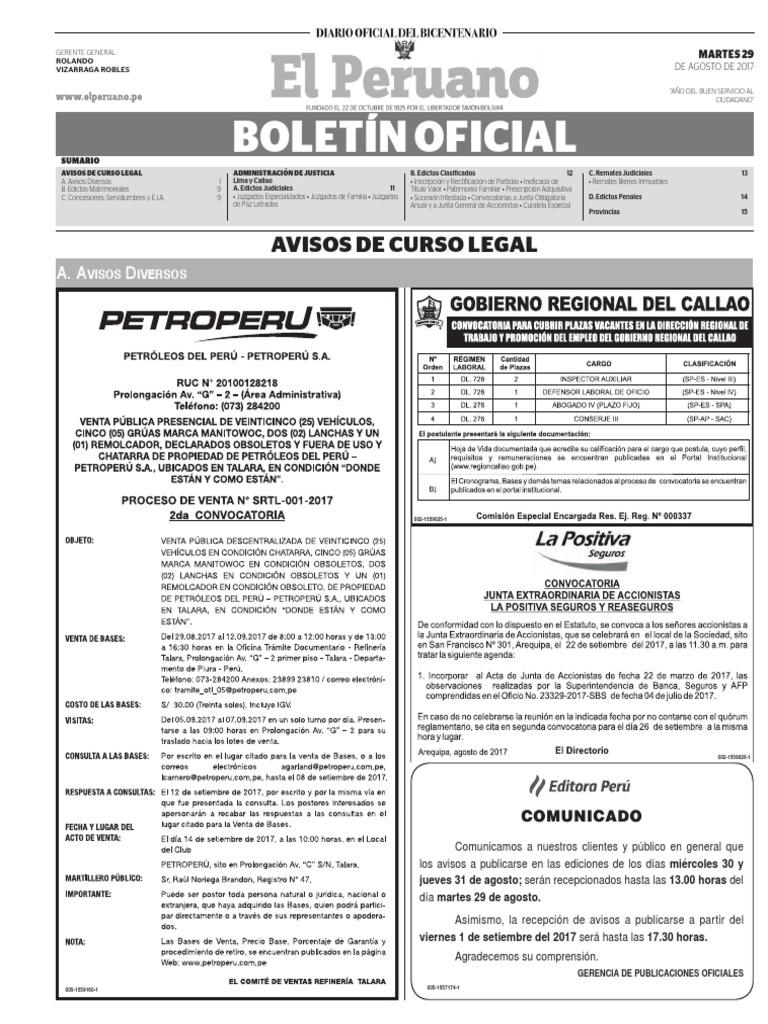 Diario Oficial El Peruano, Edición 9802. 29 de agosto de 2017