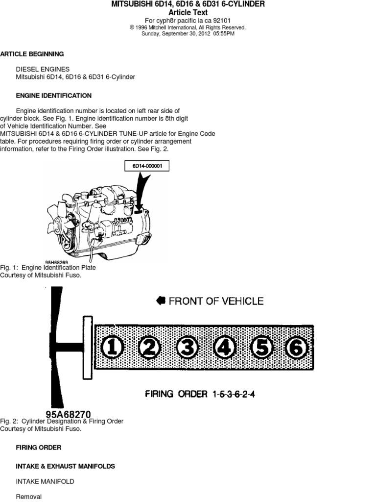 Especificaciones Mitsubishi 6d16 Cylinder Engine Piston