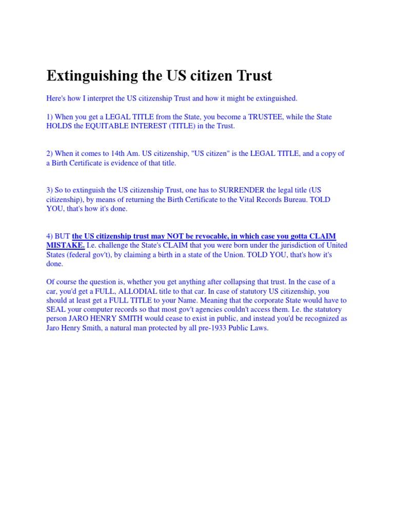 Extinguishing the us citizen trust birth certificate trust law aiddatafo Choice Image