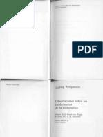 Wittgenstein Ludwig Observaciones Sobre Los Fundamentos de La Matematica