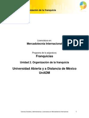 Unidad 2 Organizacion De La Franquiciapdf Franquicia