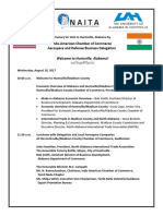 Itinerary for Aerospace Delegation From India